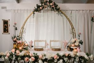 Gold Cinderella Arch With Flowers