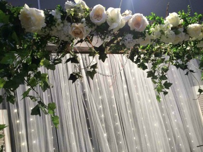 Ladder Arbour with Fairy Light Backdrop