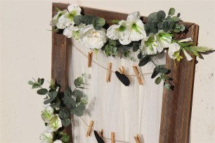 Rustic Seating Plan Display with flowers