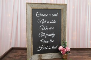 Choose A Seat, Not A Side' Ceremony Sign - Rustic