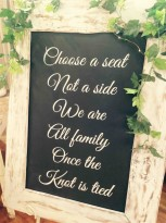 Choose A Seat, Not A Side' Ceremony Sign - White-wash