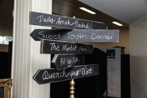 Gold Blackboard Directional Sign
