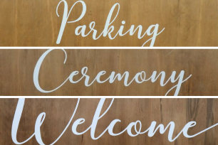 Set of 3 Wooden Wedding Signs