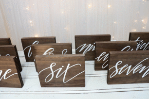 Wooden Table Numbers - White font