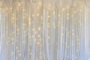 White Curtain Backdrop w/ Fairy Lights - 3m
