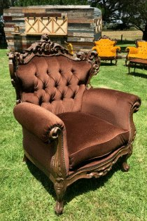 Vintage Brown Armchair Hire | Melbourne | Kelly Ann Events ...