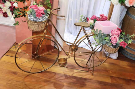 Vintage Gold Bicycle with flowers
