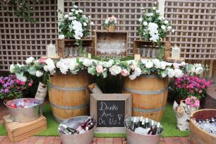 Wine Barrel and Door Bar with flowers