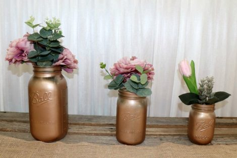 Rose Gold Mason Jar