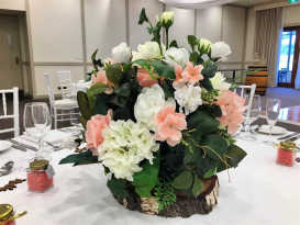 Artificial Flower Centrepiece - Pink, Green & White
