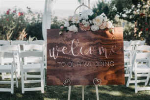 Rose Gold Wooden Welcome Sign