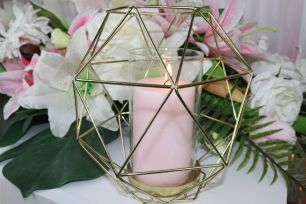 Gold Geometric Candle Holder - Large