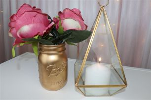 Gold Geometric Terrarium Candle Holder