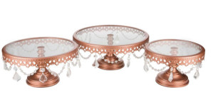 Rose Gold Cake Stand with Crystals- Trio