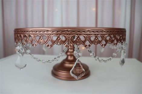 30cm Rose Gold Cake Stand with Crystals