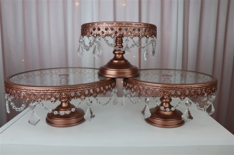 20cm Rose Gold Cake Stand with Crystals