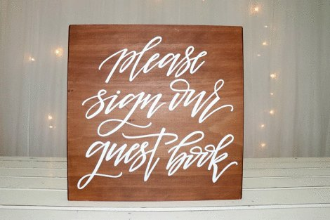 'Please Sign Our Guestbook' Wooden Sign