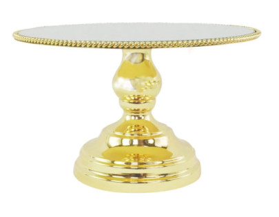 25cm Luxe Gold Mirror Cake Stand with Edge