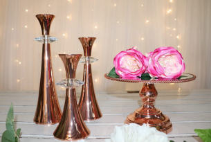 25cm Luxe Rose Gold Mirror Cake Stand with Edge