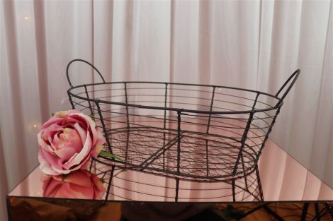 Grey Wire Basket - Oval