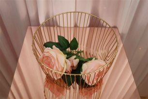 Gold Wire Basket - Round