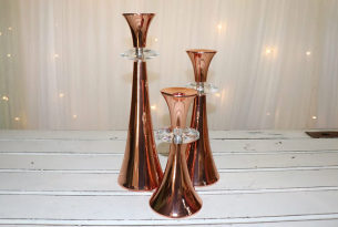 Rose Gold Candle Holders - Set of 3