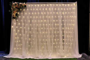 White Ruffle Tulle Backdrop w/Fairy Lights - 3m