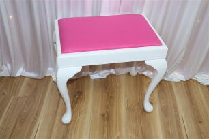 White Stool with Pink Cushion