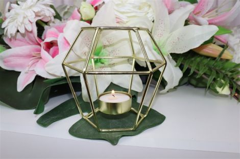Gold Geometric Candle Holder - Small