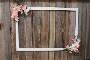 White Photo Frame Prop with Flowers