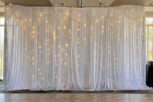 White Curtain Backdrop w/ Fairy Lights - 6m