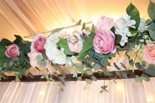 Pink, Green & White Artificial Flower Runner - Miranda