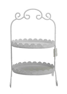 White Food Stand - Two Tier