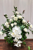 Green & White Orchid Flower Arrangement