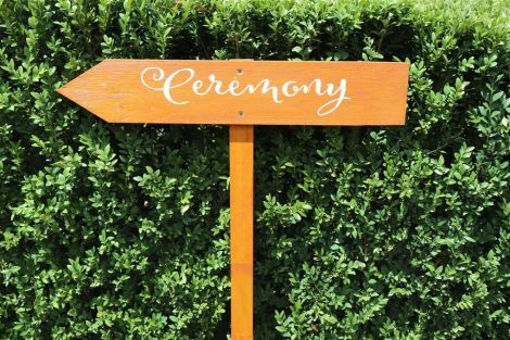 Wooden Arrow Sign - Ceremony